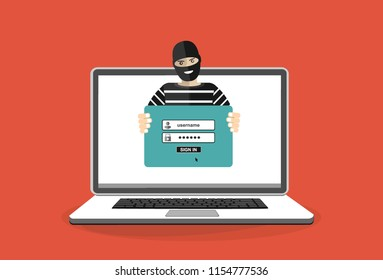 Thief hacker in mask stealing passwords from laptop. anti phishing and internet viruses concept. Cartoon Vector Illustration.