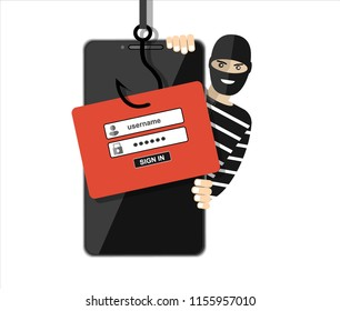Thief hacker in mask stealing passwords from smartphone. anti phishing and internet viruses concept. Flat vector illustration.