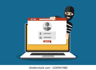 Thief hacker in mask stealing passwords. anti phishing and internet viruses concept. Cartoon Vector Illustration.