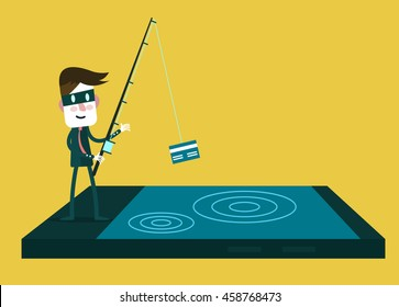 Thief Hacker steal your data credit card and money from smartphone.  flat character design. vector illustration