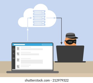 Thief or hacker is stealing an account of social networking using virus and the bug in cloud server to hack all data. Vector criminal illustration of hacker stealing data. Internet security of thief