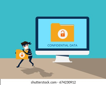 Thief. Hacker stealing confidential data document folder from computer useful for anti phishing and internet viruses campaigns. concept hacking internet social network. Cartoon Vector Illustration.