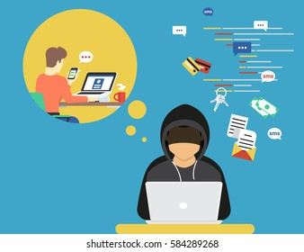 Thief or hacker is stealing log in password of social networks account using virus by catching sms. Flat criminal illustration of hacker coding bug to hack all data. Internet security of thief