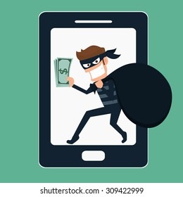 Thief. Hacker stealing money on smart phone. Cartoon Vector Illustration.