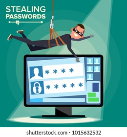 Thief Hacker Stealing Password Vector. Thief Character. Crack Personal Information From Computer. Fishing Attack. Web Viruses Concept. Hacking Internet Social Network. Flat Cartoon Illustration