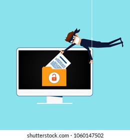 Thief. Hacker stealing sensitive data as passwords from a personal computer useful for anti phishing and internet viruses campaigns. concept hacking internet social network. Vector Illustration.