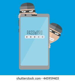 Thief. Hacker stealing sensitive data as passwords from a smartphone.