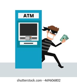 Thief. Hacker stealing sensitive data and money from ATM machine. Phishing, ATM skimming. Cartoon Vector Illustration.