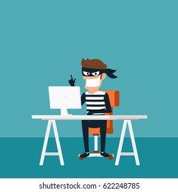 Thief. Hacker stealing sensitive data as passwords from a personal computer useful for anti phishing and internet viruses campaigns.