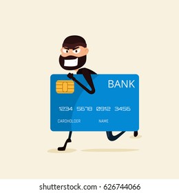 Thief. Hacker stealing sensitive data and money from credit card. Useful for anti phishing and internet viruses campaigns. concept hacking internet social network. Cartoon Vector Illustration.