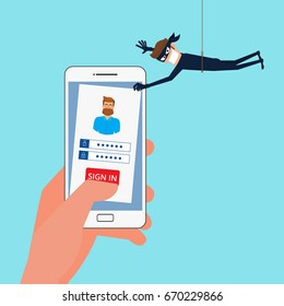 Thief Hacker stealing sensitive data, personal information as passwords from a smartphone useful for anti phishing and internet viruses campaigns.Concept hacking internet social network.Cartoon vector