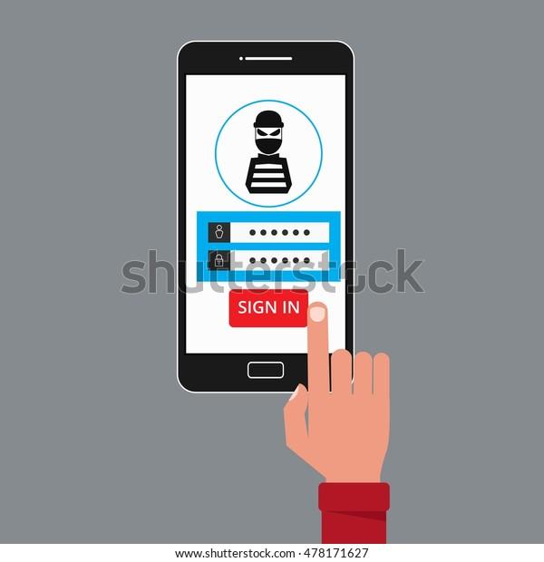 Thief Hacker Stealing Sensitive Data Passwords Stock Vector (Royalty