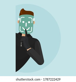 The thief hacks the face id and can steal any personal, provocative information. The thief infiltrates his private life. The thief wears a face id mask and breaks into the security.