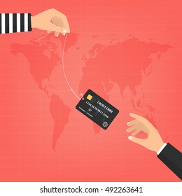 Thief hand with fishing hook with credit cards and victim businessman hand on world map background. Vector illustration business concept design.