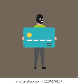 Thief Hold Bank Credit Card Man In Mask Stolen Money Cash Account Hacker Activity Concept Viruses Data Privacy Attack Flat