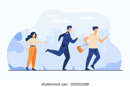 Thief holding stolen bag and running from male cop. Policeman catching criminal for arrest. Vector illustration for police officer job, violation of law, theft concept