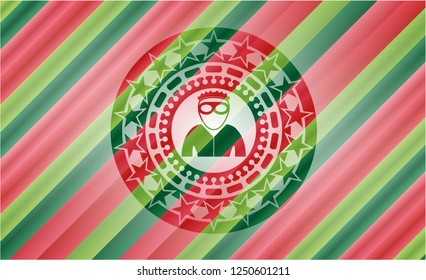 thief icon inside christmas badge background.