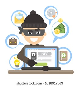 Thief with laptop trying to stela money.
