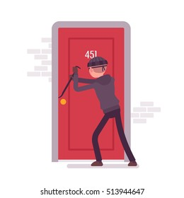 Thief making an effort to open the door with a crowbar. Cartoon vector flat-style concept illustration