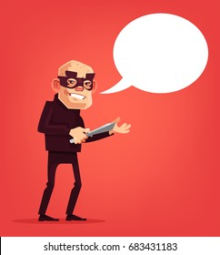 Thief, male character holds knife. Speech bubble. Vector flat cartoon illustration