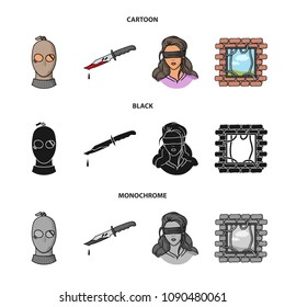 A thief in a mask, a bloody knife, a hostage, an escape from prison.Crime set collection icons in cartoon,black,monochrome style vector symbol stock illustration web.