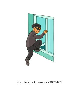 Thief in mask, robber breaking into house through open window, sketch style vector illustration isolated on white background. Hand drawn thief, burglar intrudes into house through window for theft