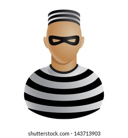 Thief in mask and striped clothes avatar or icon isolated on white background. Vector