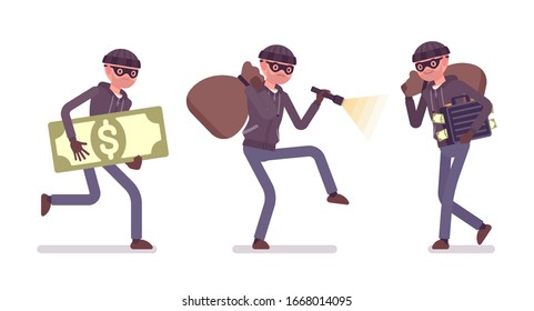 Thief, a masked man stealing money. Burglar committing robbery, outlaw fraud operating lawless financial crime, bandit tiptoeing with a stolen sack, flashlight. Vector flat style cartoon illustration