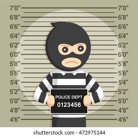 thief with mugshot background