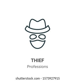 Thief outline vector icon. Thin line black thief icon, flat vector simple element illustration from editable professions concept isolated on white background