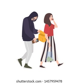 Thief, pickpocket or rubber dressed in hoodie stealing wallet or purse from woman's bag. Criminal committing crime and victim. Robbery or theft scene. Flat cartoon colorful vector illustration.