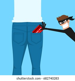 Thief pickpocket stealing a credit card from back jeans pocket. Cartoon Vector Illustration