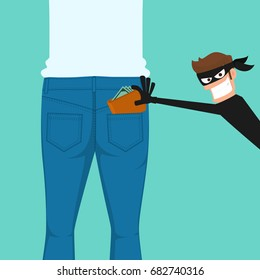 Thief pickpocket stealing a wallet from back jeans pocket. Cartoon Vector Illustration.