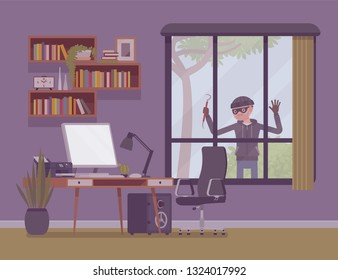 Thief planning the house robbery. Male masked criminal looks trough big window to steal property, burglar watching before break in an unprotected apartment, not guarded empty room. Vector illustration