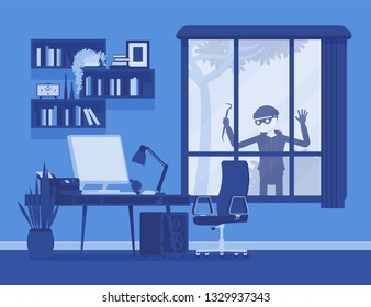 Thief planning the house robbery. Male masked criminal looks trough big window to steal property, burglar watching before break in an unprotected apartment. Vector illustration, faceless characters