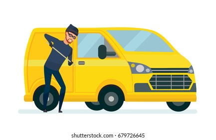 Thief produces hacking, theft car with the help of improvised means. Violate the law. Vector illustration isolated in cartoon style.