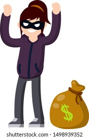 Thief raised hands. Detention of criminals. Woman in black robber mask. Bag of money. Bank robbery. Arrest the girl. Cartoon flat illustration