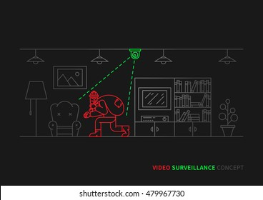 Thief (robber) in apartment vector illustration. Night vision video camera surveillance line art concept. Video camera control and security graphic design. Video monitoring to avoid robbery, theft.