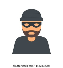 Thief robber icon. Flat illustration of thief robber vector icon for web isolated on white