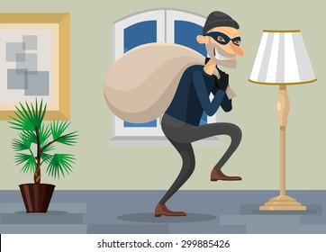 Thief in room vector flat illustration
