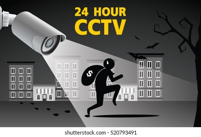 Thief run with bag of money vector illustration