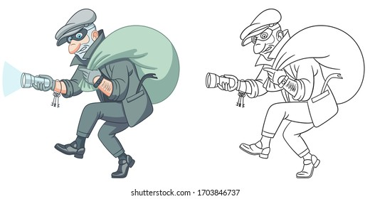 Thief running with a bag, criminal housebreaker. Coloring page and colorful clipart character. Cartoon design for t shirt print, icon, logo, label, patch or sticker. Vector illustration.