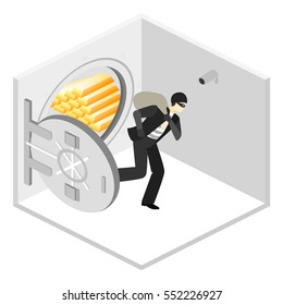 thief running out of a bank vaul. Isometric flat 3D isolated concept vector