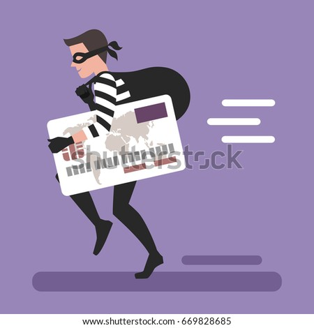 Thief Running Stolen Credit Card Stock Vector (Royalty Free