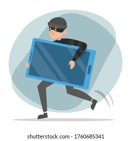 Thief running with a stolen mobile phone vector isolated. Male criminal in black clothes and mask is happy. Idea of security and data safety in danger.