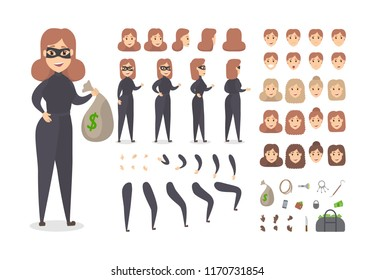 Thief smiling female character in mask set for animation with various views, hairstyles, face emotions, poses and gestures. Bag with money and robber equipment. Isolated flat vector illustration