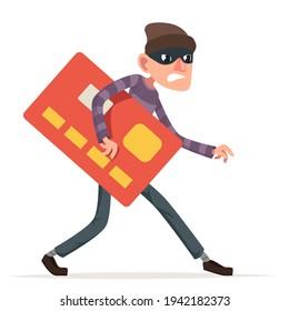 Thief sneak walk credit card stolen money evil greedily rogue cartoon bulgar character isolated design vector illustration