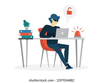 Thief steal personal data with password. Cyber crime and hacking concept. Data privacy in danger. Isolated vector illustration in cartoon style