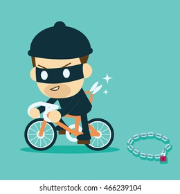 thief stealing bicycle