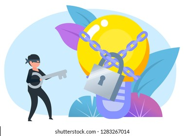 Thief stealing idea light bulb. Intellectual property infringement, protection, security. Poster for social media, web page, banner, presentation. Flat design vector illustration